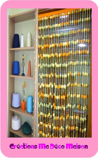 cortinas, pompones, decoración, hogar, labores