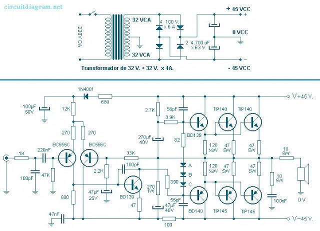 260 Watt power audio amplifier circuit diagram