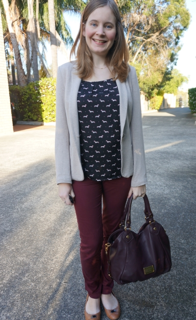 Away From Blue | Fun Office Wear: dog print blouse, cream blazer, marsala pants