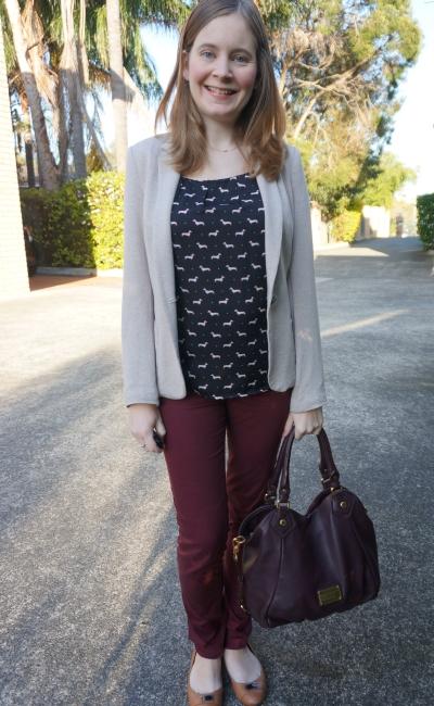 Away From Blue | Fun Office Wear: dog print blouse, cream blazer, marsala pants