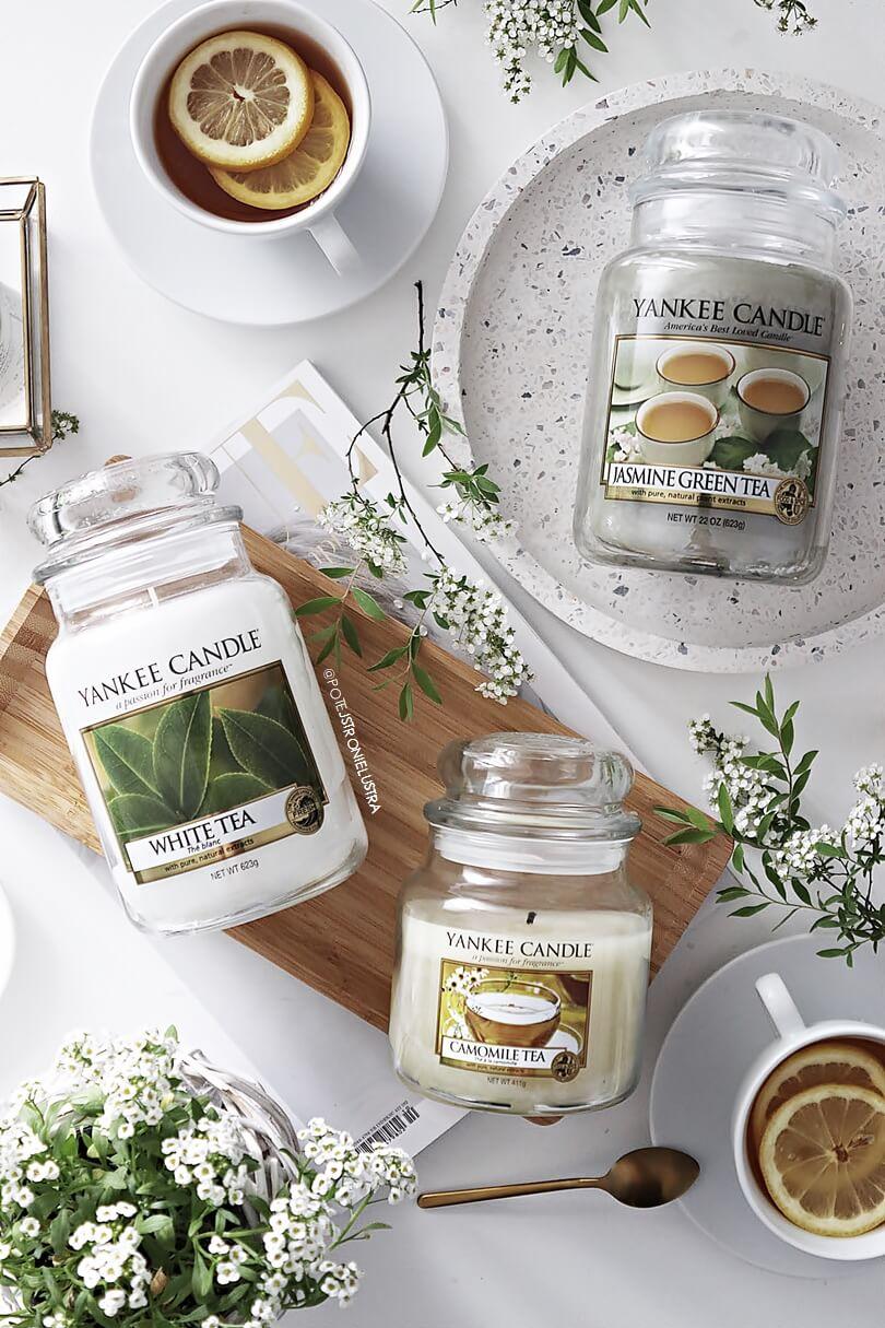 świece yankee candle o zapachu herbaty białej, zielonej i rumiankowej