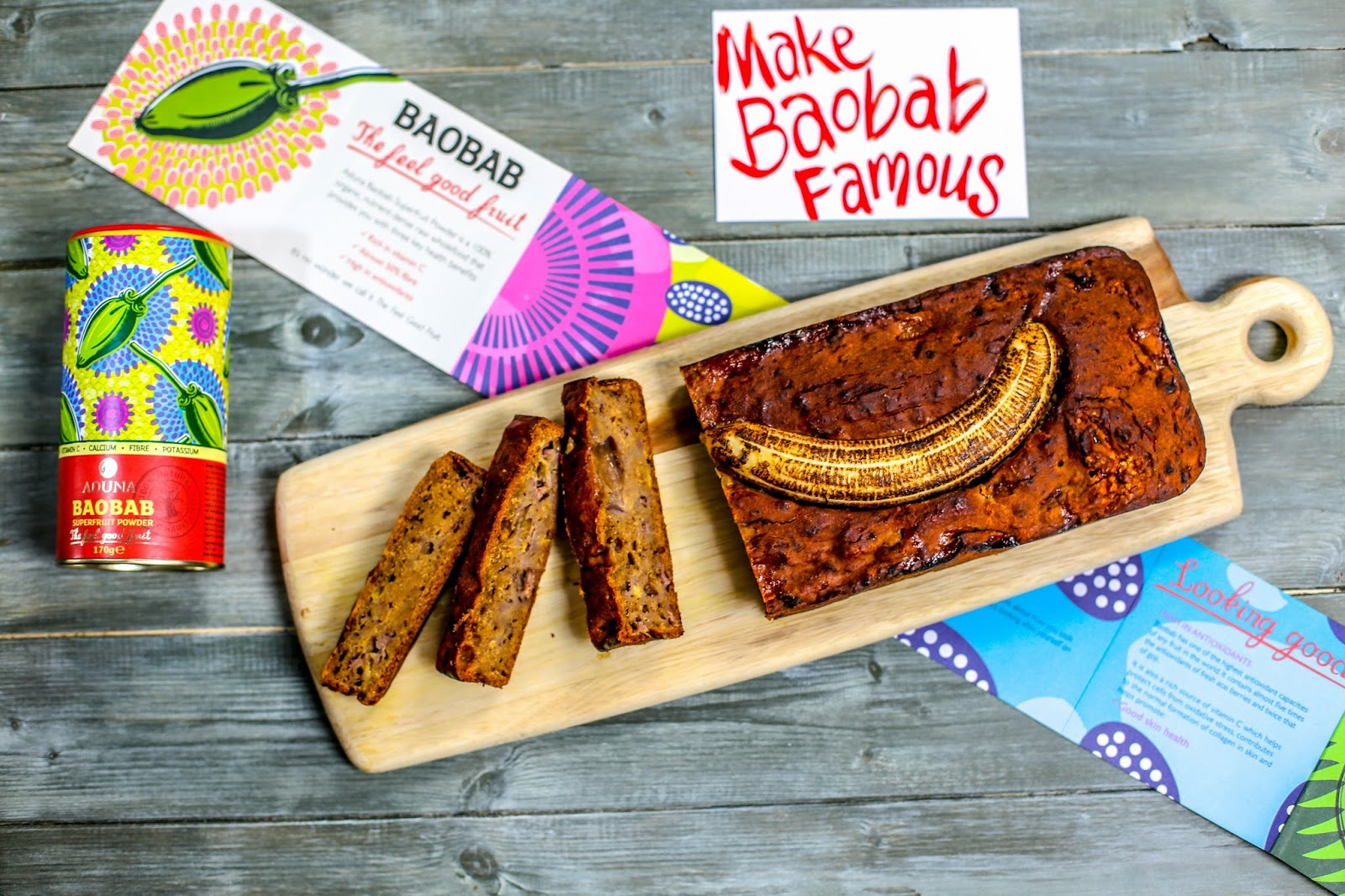 Gluten free banana bread with baobab love