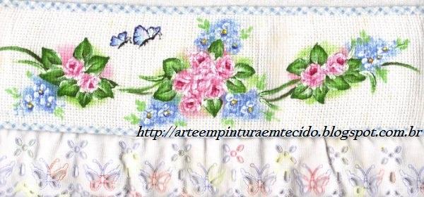 Pintura em tecido barradinho com rosas
