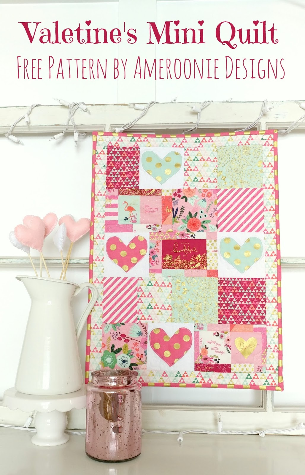 Ameroonie Designs On Trend Valentines Mini Quilt Free Tutorial And
