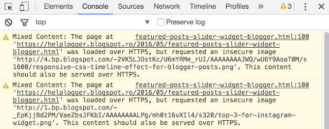 mixed content, chrome console