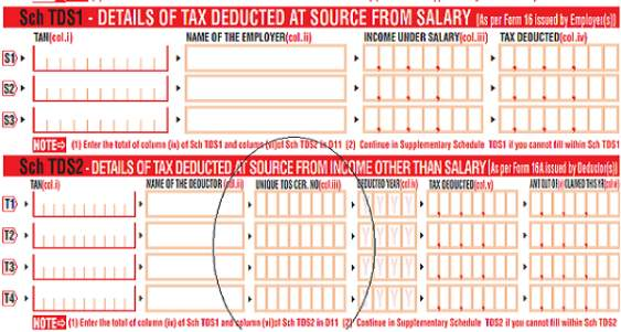 UNIQUE TDS CERTIFICATE NUMBER TO BE FILLED IN INCOME TAX