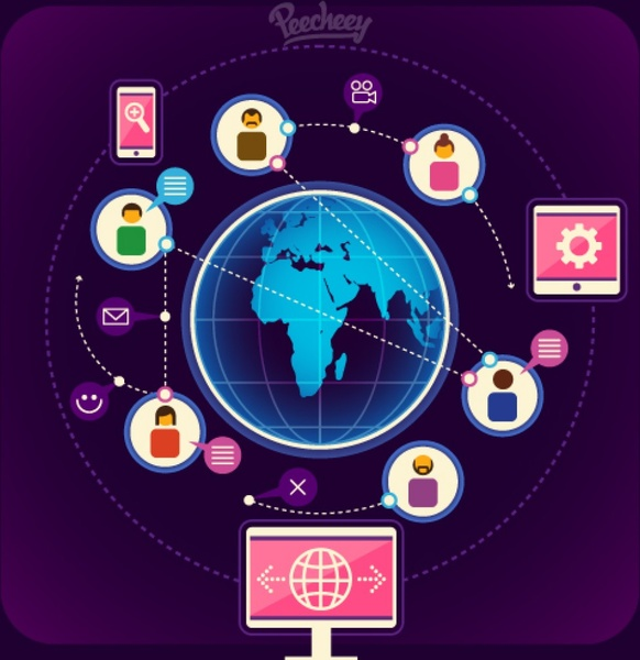 World wide communication Free vector
