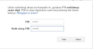 PIN Chrome Remote Desktop