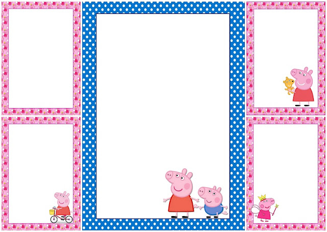 Peppa Pig Free Printable Frames, Invitations or Cards.