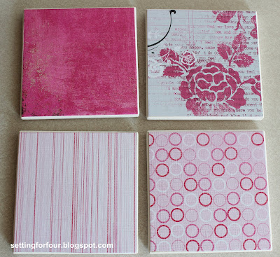Learn how to make these beautiful Gift DIY Coasters - they are so easy to make with Mod Podge and scrapbook paper! Make a set for your home and for gifts! They make fabulous hostess gifts, Mother's Day, birthday, Christmas gifts and stocking stuffers!