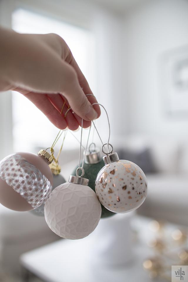 joulupallot, Hübschin joulupallot, kimallepallot, ideoita jouluun, villa h