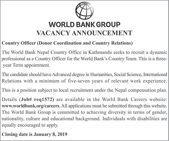 Vacancy Announcement from World Bank Group