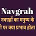 नवग्रहों का मनुष्य के अंगो पर प्रभाव | नवग्रह | Navgrah |