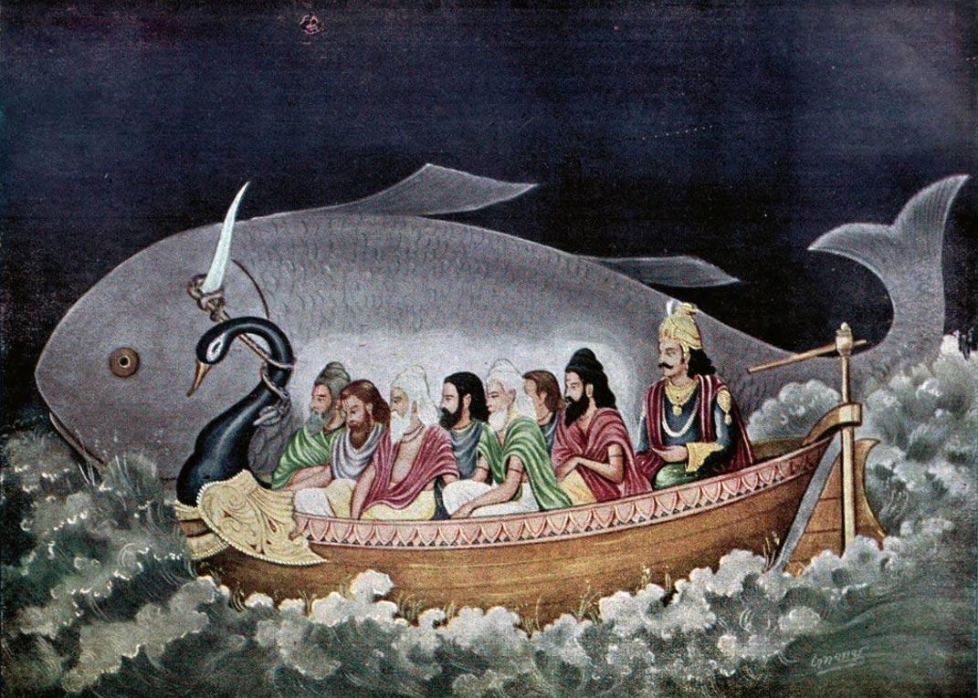 Resultado de imagen de El Mahabharata de los hindúes cuenta cómo Brahma apareció bajo la forma de un pez ante Manú, padre de la raza humana, para prevenirle de la inminencia del diluvio.