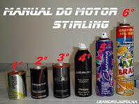 Manual do motor Stirling, sugestões de latas para pistão deslocador