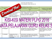 Download Kisi-Kisi Materi PLPG 2016 Guru Kelas SD