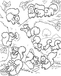 Squirrel Familly Coloring Sheet