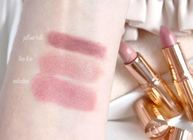 Charlotte Tilbury Lipstick Swatches | Pillow Talk, Kim K.W & Valentine