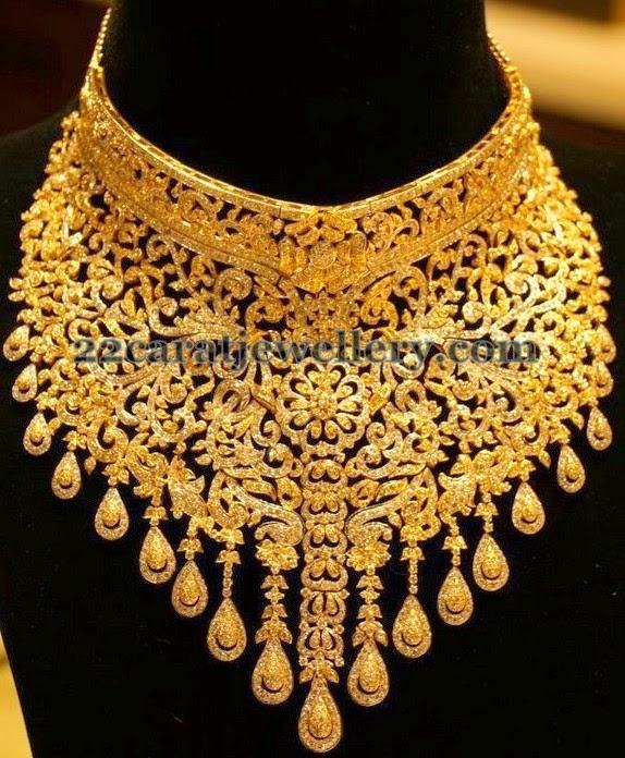 Manepally Tremendous Diamond Choker Jewellery Designs