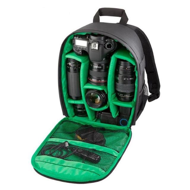 حقيبة ظهر المصور من الداخل بلون اخضر