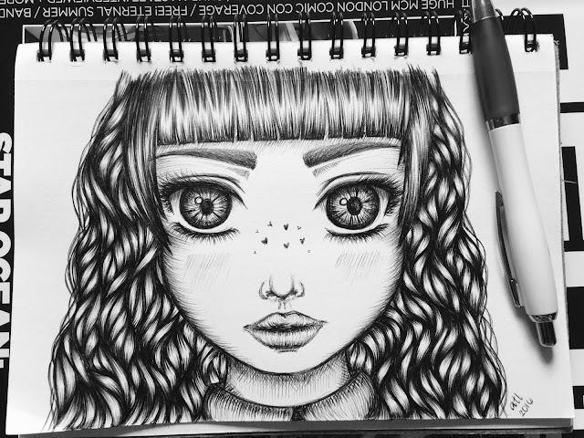 Anna Legaspi Art Anime Girl Ball Pen Biro on Paper Doodle Drawing