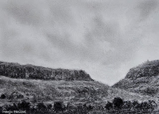 Charcoal drawing of a landscape from Malshej Ghat, Maharashtra by Indian artist Manju Panchal