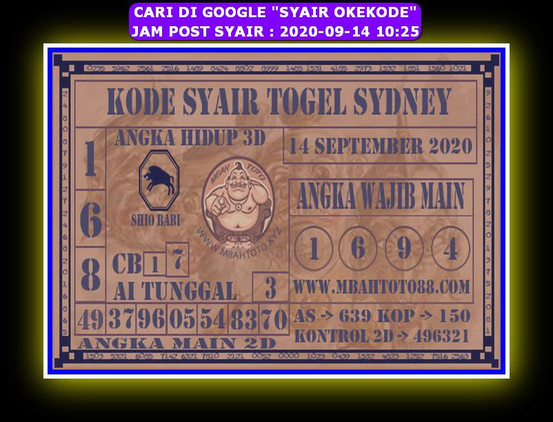 Kode syair Sydney Senin 14 September 2020 180