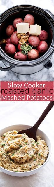 Roasted Garlic Mashed Potatoes {Slow Cooker}