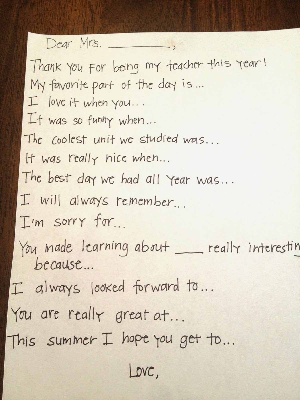 Teacher Thank You Note Prompts - Brooke Romney Writes