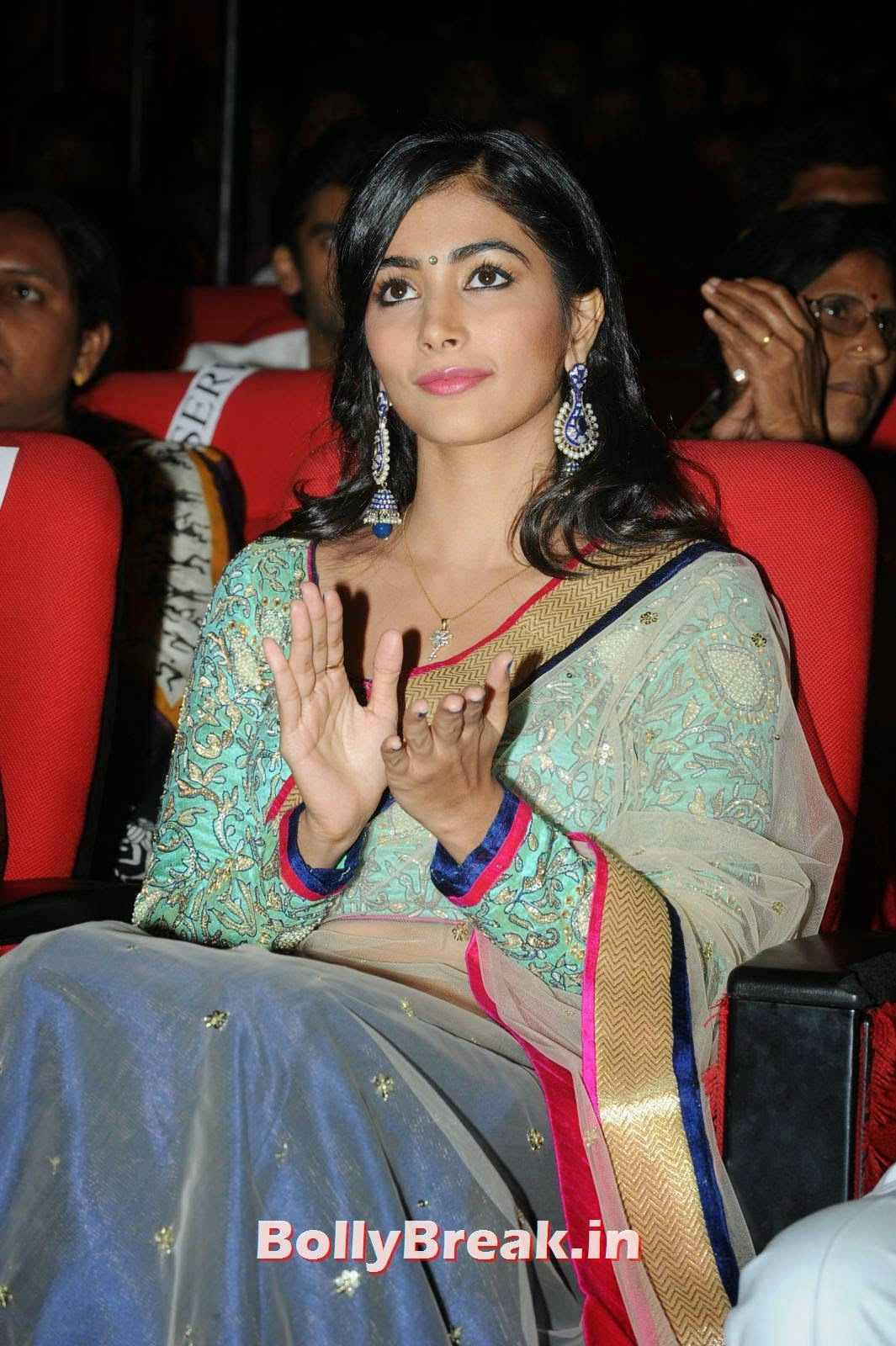 Actress Pooja Hegde Photos, hot Pics of Pooja Hegde from Mukunda Movie Audi Launch