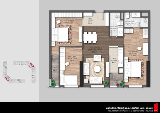 Thiết kế căn B1.4 diện tích 95,3m2 chung cư The Emerald