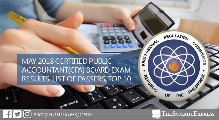 FULL RESULTS: May 2018 CPA board exam list of passers, top 10