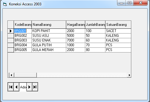 Cara Mengatur Lebar Datagrid di Visual Basic 6.0, Tabel Database pada form VB 6.0, Datagrid pada Visual Basic 6.0
