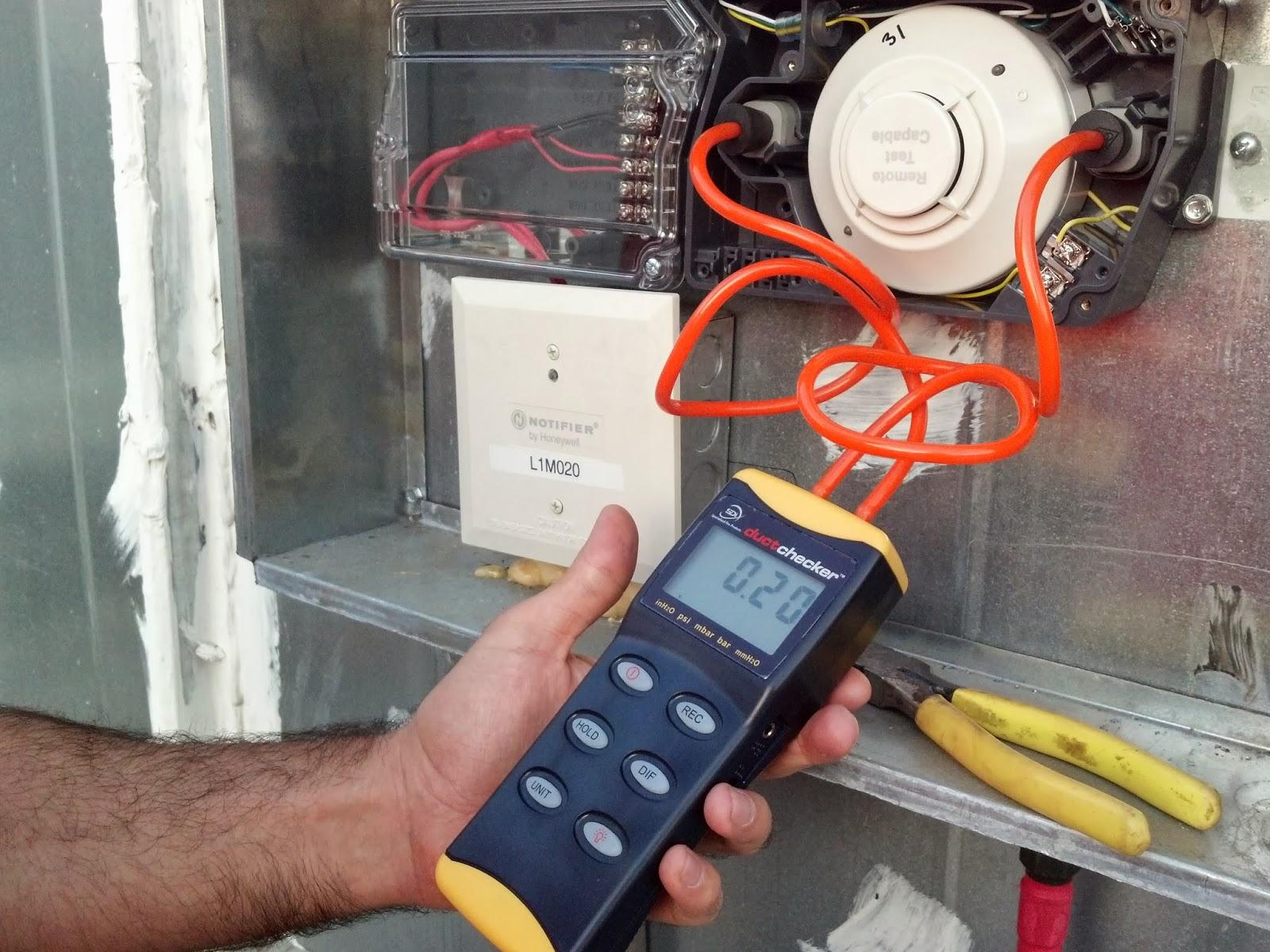 hight resolution of manometer testing duct smoke detector