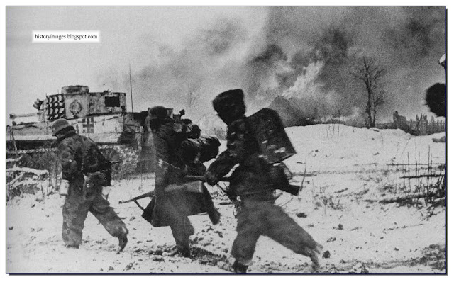 German soldiers Tiger tank battle. Ukraine. Winter 1943-44