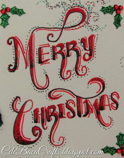 Handmade penguin Christmas card by CdeBaca Crafts blog.