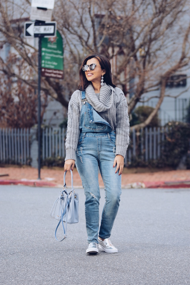 Wearing: Statement Earrings: BaubleBar Overall: SheIn Shoes: ASOS Bag: David Jones  Denim Overall And A Cable Sweater Outfit by Mari Estilo