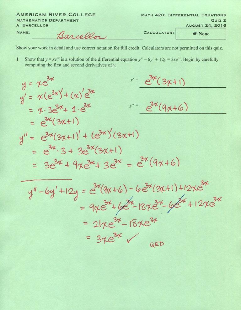 Mr B\'s Math Blog: Math 420 (fall 2016): Quiz solutions I