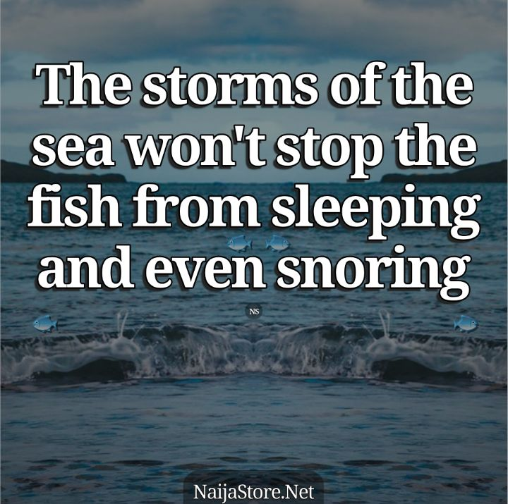 Yoruba Proverbs: The storms of the sea won't stop the fish from sleeping and even snoring - African Proverbial Quotes