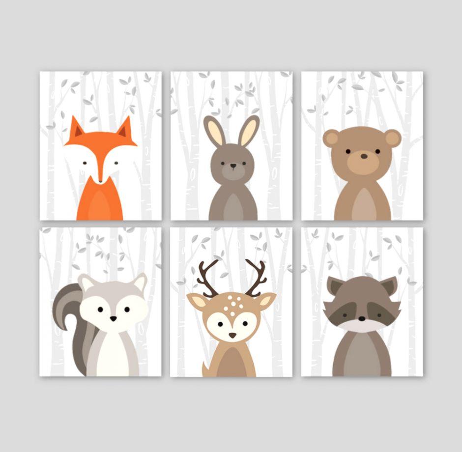 Lovely Animal Wall Decor Fox Art Nursery Woodland Forest Zoom