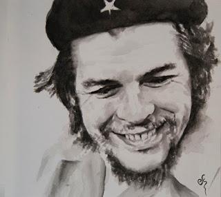 Retrato del Che Guevara. Acuarela sobre papel