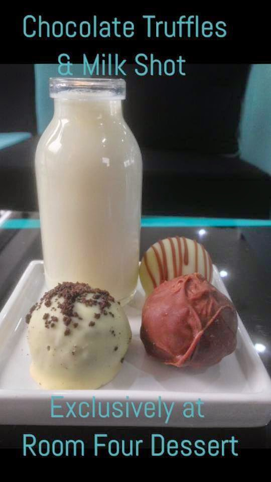 Room Four Dessert truffles and milk
