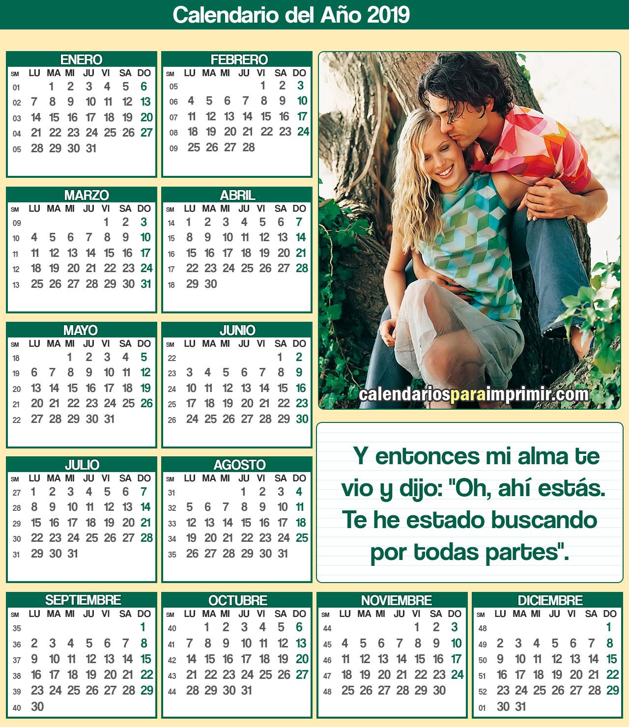 calendario 2019 romantico para imorimir