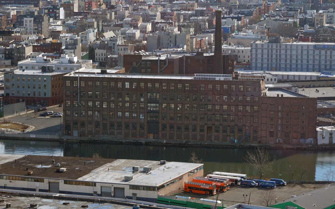 birds eye view of the Greenpoint Manufacturing and Design Center's Newtown Creak facade