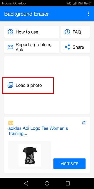 mengunggah gambar ke aplikasi background eraser