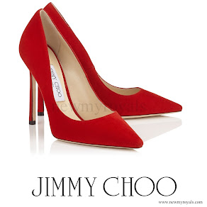 Princess Charlene wore JIMMY CHOO Red Suede Pointy Toe Pumps