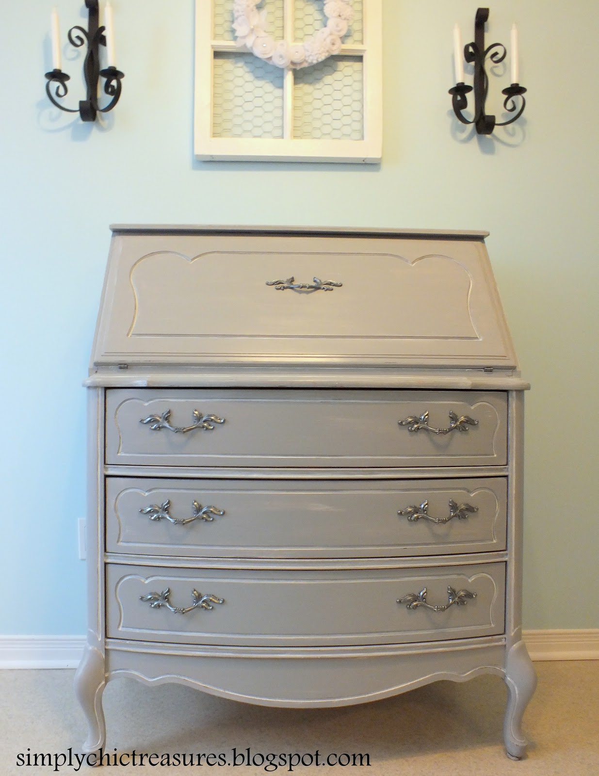 Grey French Provincial Secretary Desk