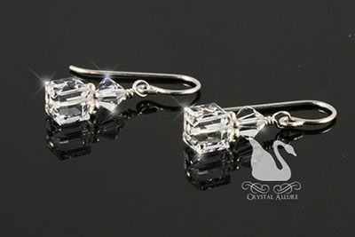 Crystal Ice Cube Beaded Earrings (E153)