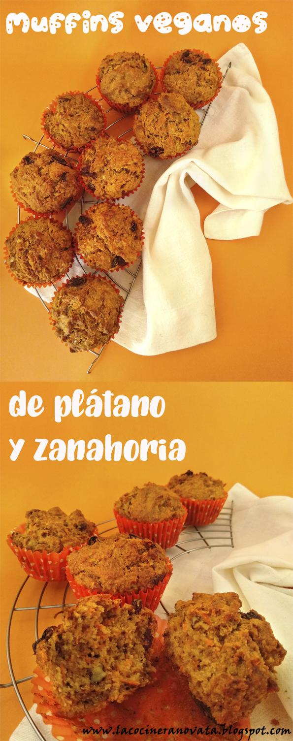 MUFFINS VEGANOS DE PLATANO Y ZANAHORIAS la cocinera novata cocina receta reposteria dulces vegetariano vegano