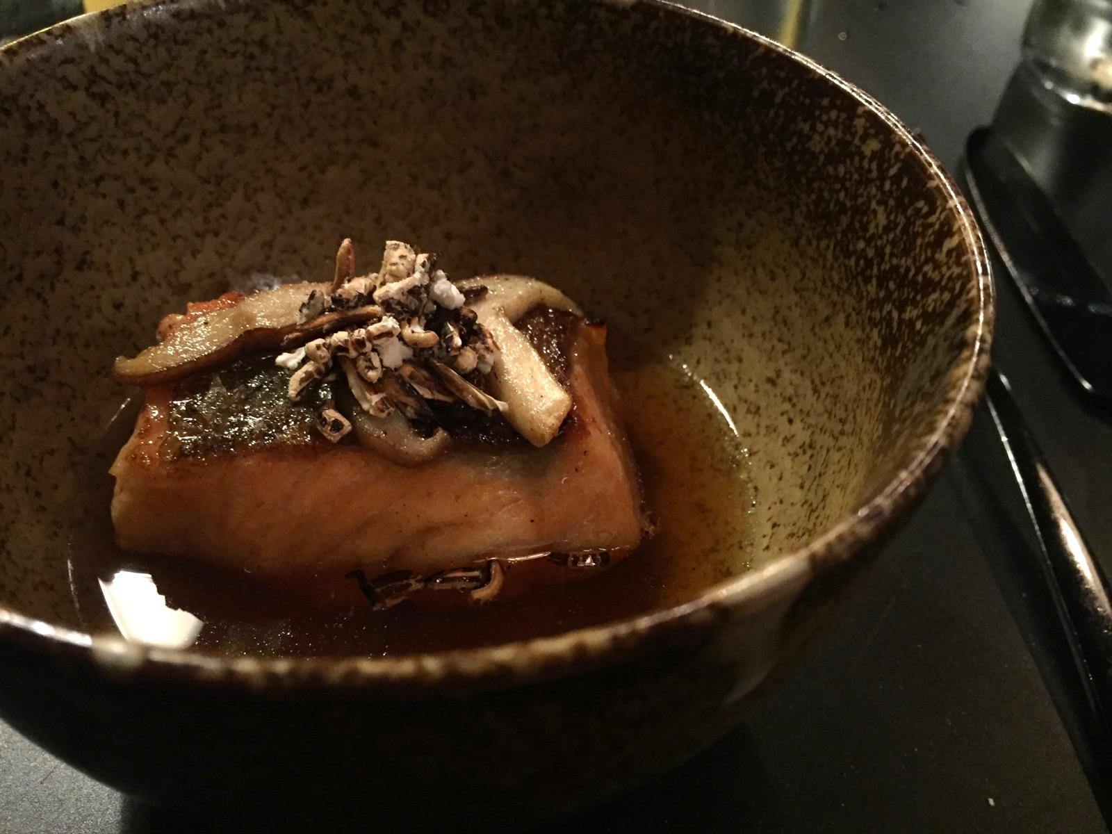 The Wilderness mushroom trout dashi